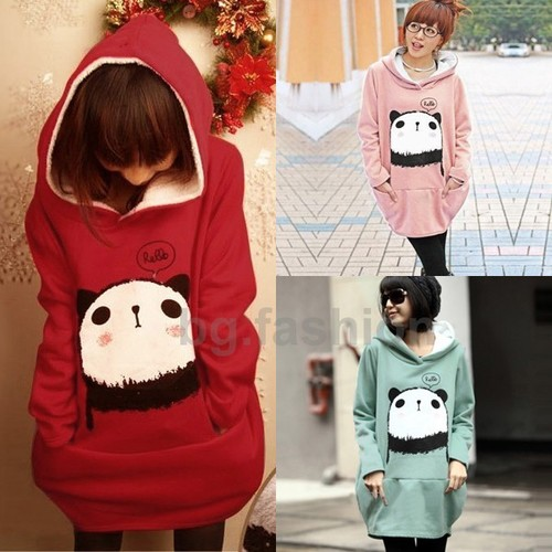 Womens Cute Panda Hoodie Casual Sweatshirt Long Loose Pullover Coat x'mas Tops | eBay
