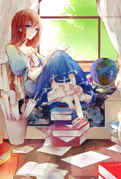 red hair blue eyes long hair books anime girl reading we