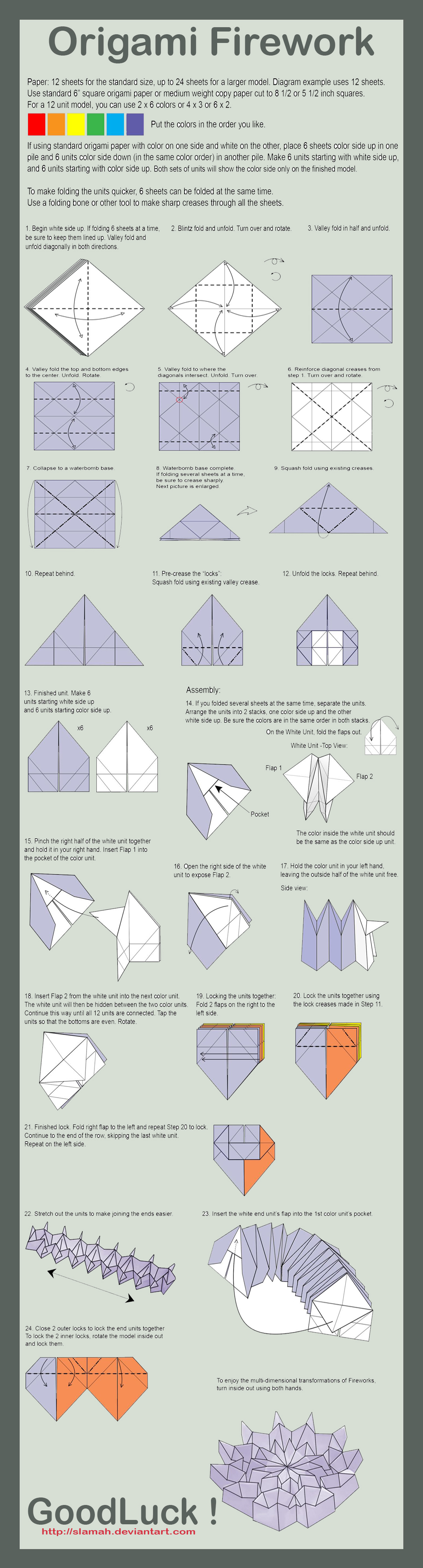 origami firework folding instructions | origami ... easy diagram of firework