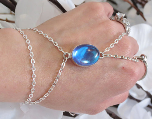 Slave Bracelet Ring Blue Topaz Blu Topaz by TheMysticalOasisGlow