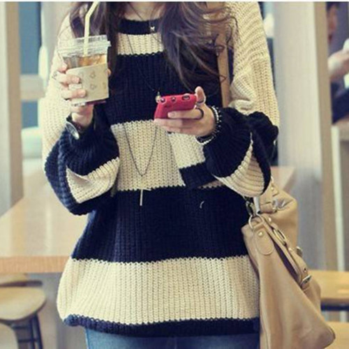 Fashion Casual Loose Stripes Jumpers Chunky Knit Bat Wing Thick Pocket Sweater | eBay