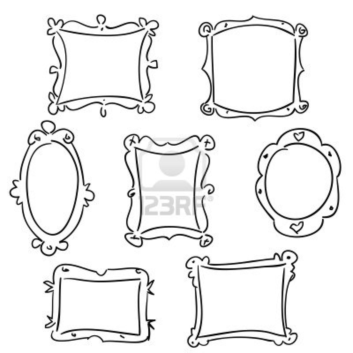 Frame Design Line Art : Hand drawn frames vector illustration royalty free