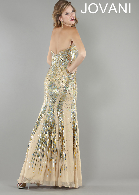 Jovani 9540 - Gold Sequin Evening Gown Prom Dresses Online - We ...