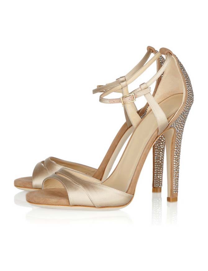 Heel Height Gold Satin Shiny Heel Sandals | We Heart It | grace ...