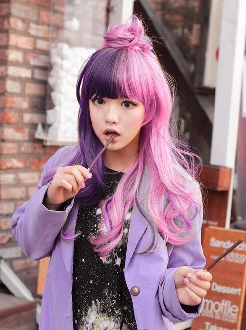 ピンク 215 パープル ハーフ&ハーフ ロングヘアー 【流行】海外 で 人気 ディップ・ダイ・ヘア 日本も流行の兆し