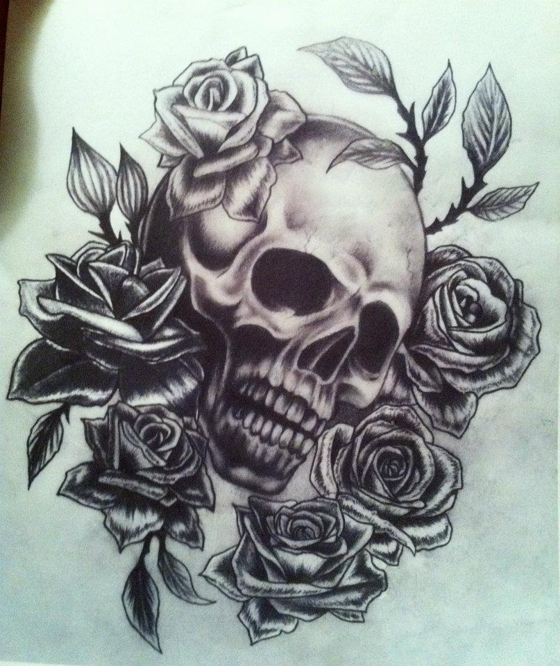 Skull And Guns Unfinished By Ifinch On Deviantart: Skull And Rose Drawing. By Chloe