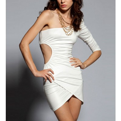 White  Shoulder Dress on White One Shoulder Cut Out Sexy Party Dress   Sexy Club Dresses Club