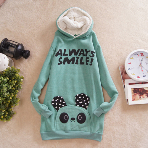 2012 Women Cute Panda Hoodies Always Smile Fashion Cotton Outwear Green White Pink One Size Ladies Free Shipping A1013-in Hoodies & Sweatshirts from Apparel & Accessories on Aliexpress.com
