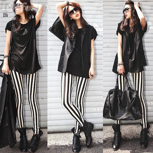 Collection Black White Striped Leggings Pictures - Reikian
