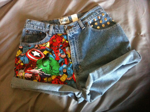 Avengers MARVEL vintage studded high waist shorts by NUgeneration