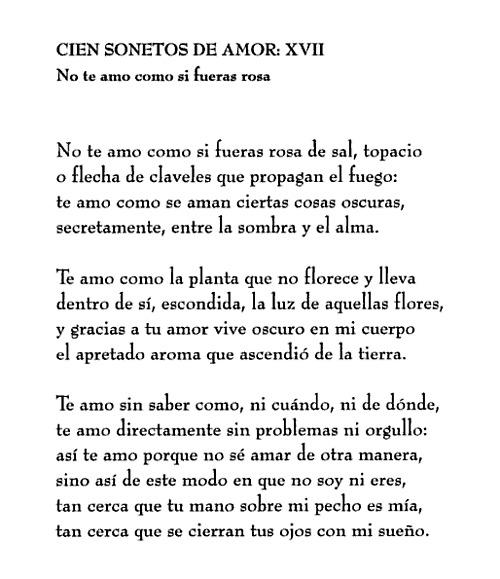 Pablo Neruda xvii no te amo