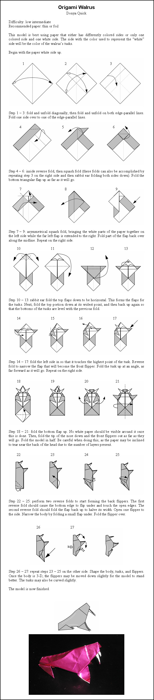 Group of Origami Walru...