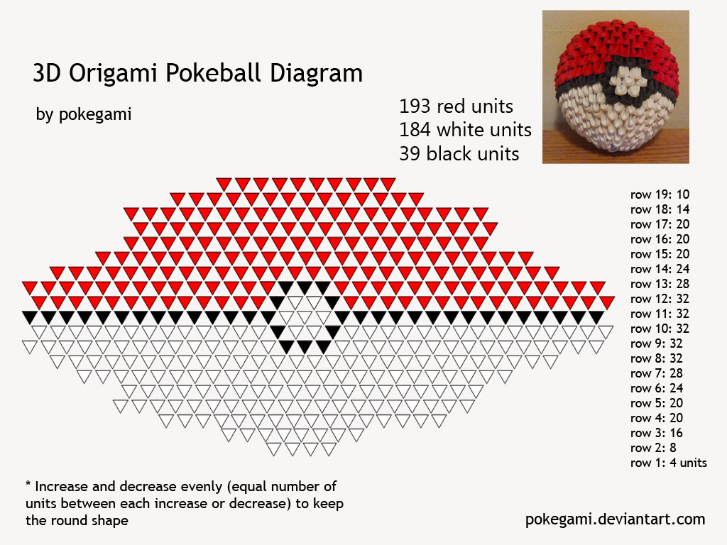 3D Origami Pokeball Folding Instructions | Origami ... - photo#1