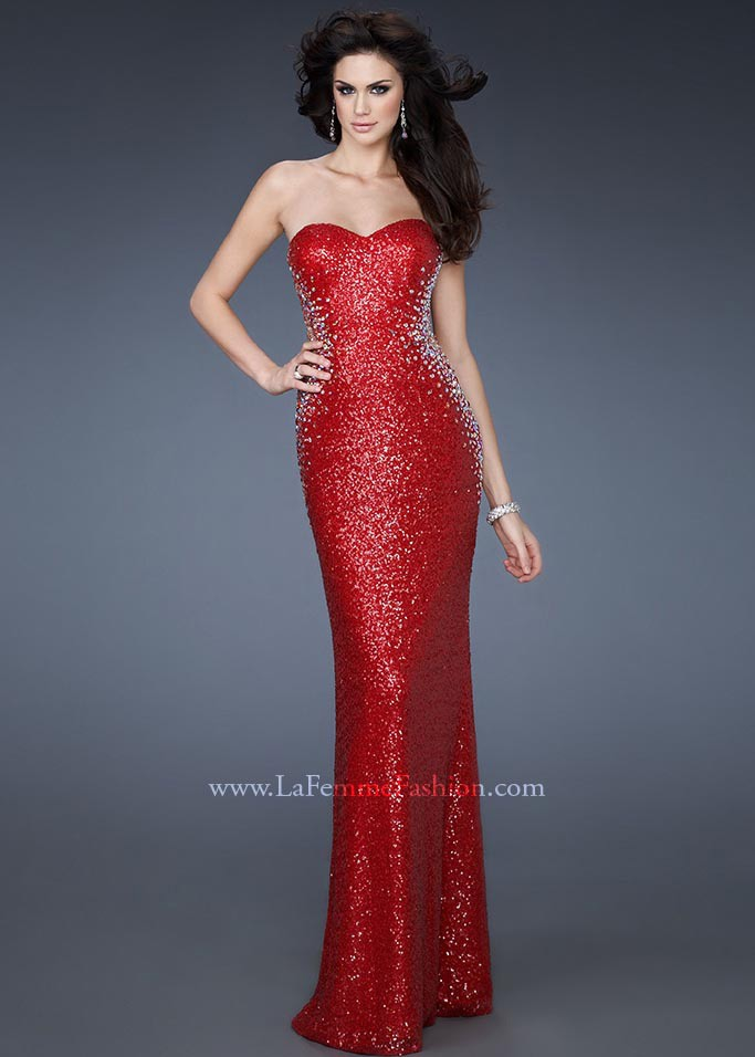 La Femme 18605 - Sexy Red Sequin Strapless Dress, Prom Dresses ...