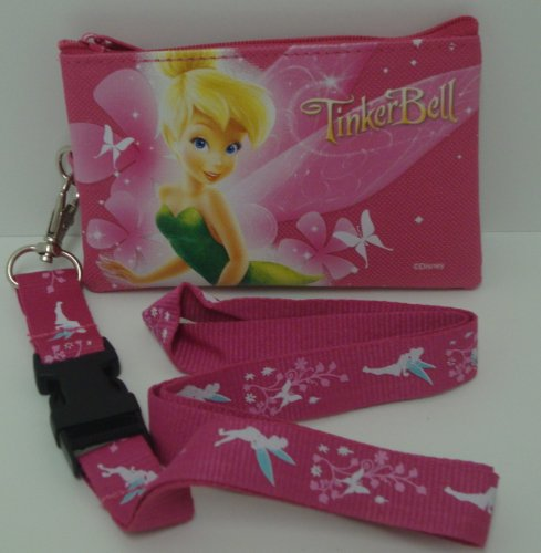 51S 2BChGfaeL large Disney Tinkerbell Pink Lanyard with Detachable Coin Purse: