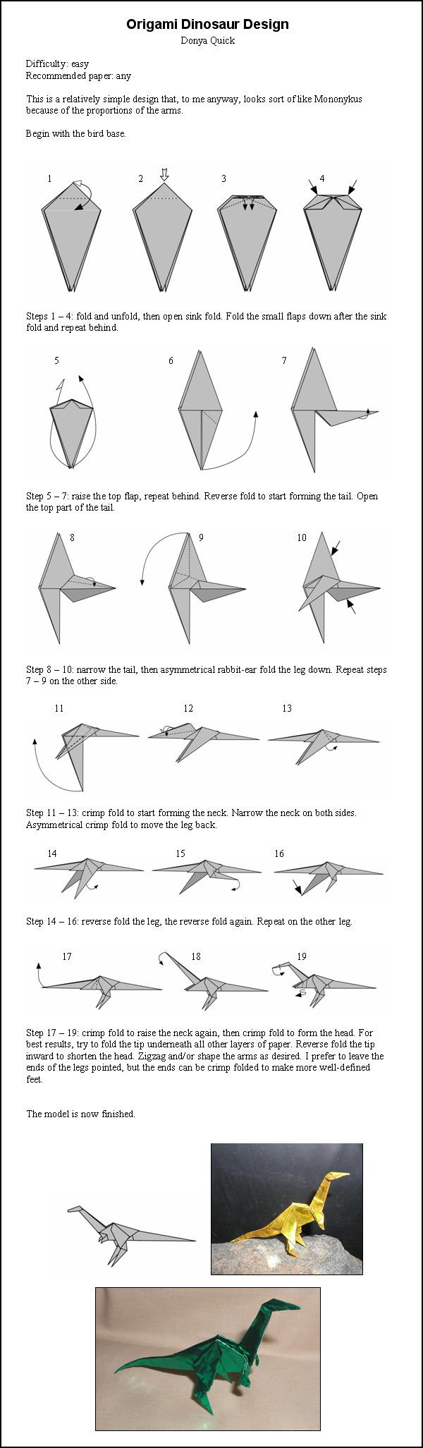 Как сделать оригами динозавров