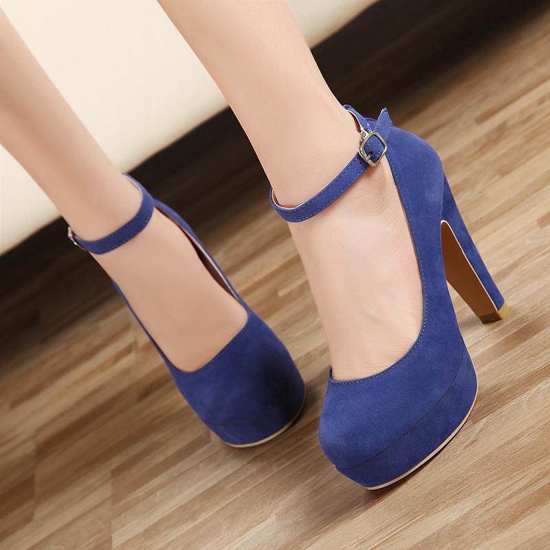 Blue Thick Heel Shoes | We Heart It | blue, shoes, and heels