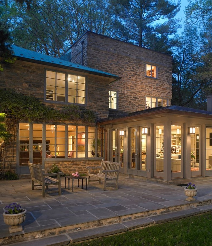 Modern Stone Cottage home, sweet home / sunroom addition on 1930's modern stone cottage
