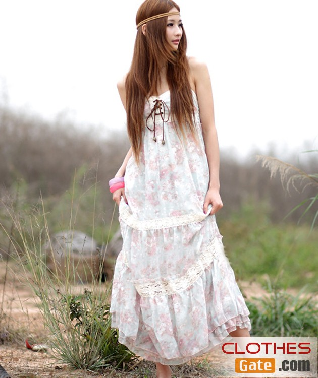 Women White Flower Print Halter Strapless Cotton Bohemian Dress