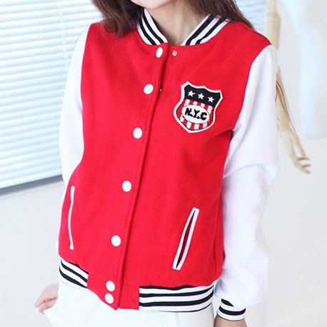 Girl's Fleece NYC Logo Red Varsity Baseball Jacket | varsity ...