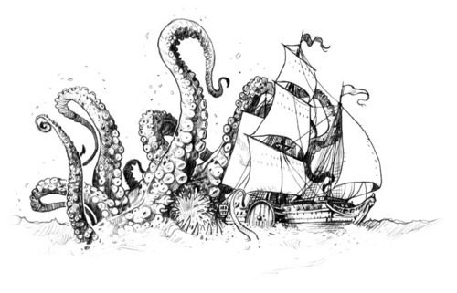 Octopus Shipwreck Drawing INK IT UP Tradi...