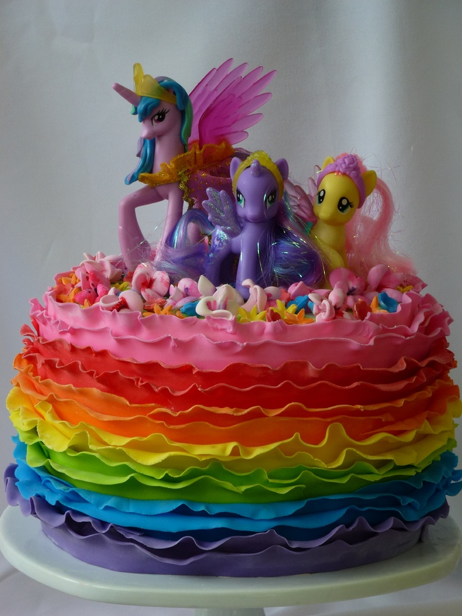 My Little Pony Rainbow Ruffle Cake Children39s Birthday
