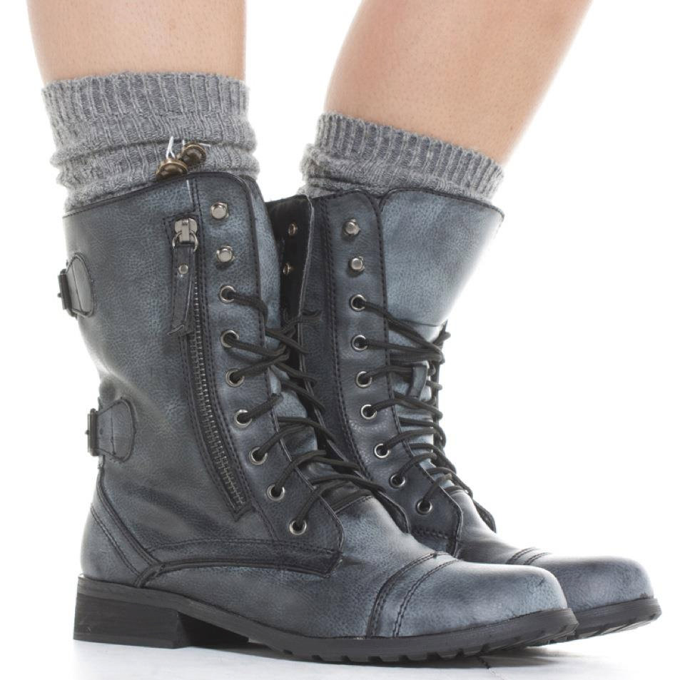 Grey Combat Boots - Cr Boot