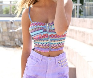 aztec crop top and purple studded shorts
