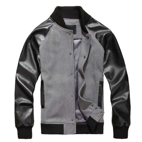 Leather Sleeve Baseball Jacket - Jacket