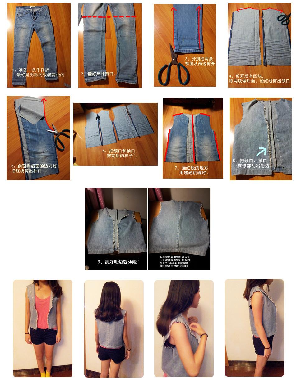 Сшить джинсовую жилетку из старых джинсов выкройка