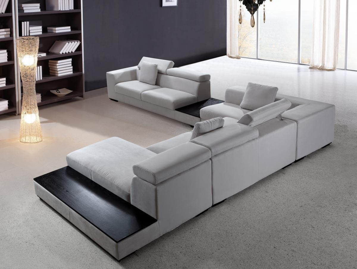modern microfiber sectional sofa furniture in grey  features l  - modern microfiber sectional sofa furniture in grey  features l shapeside tables with black top headrests  seat sofa chaise and more