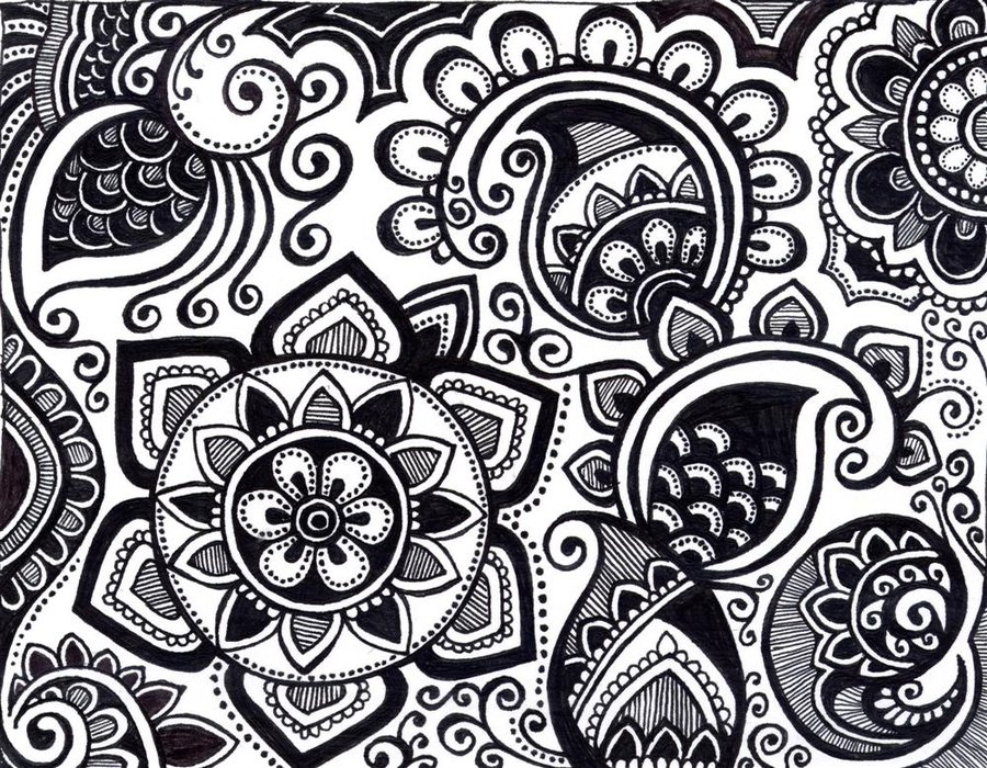 Black and white Paisley design | We Heart It | art ...