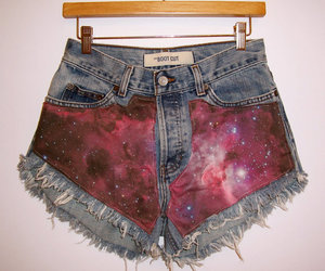 MADE TO ORDER High Waisted Purple Galaxy Denim Shorts by BohoJane