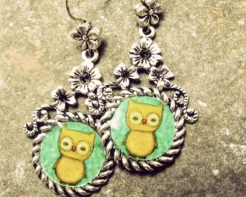 AN OWL Unique silver colored earrings with by danitashop on Etsy