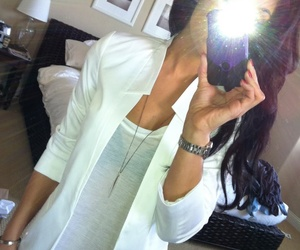 white blazer, white t, black skinnies | fashion
