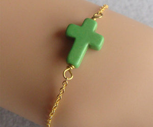 Sideway Green Turquoise Cross Charm Gold Chain by tinypretty2012