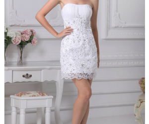 Buy Glamorous Lace Sheath/Column Scoop Neckline Mini Graduation Dress under 200-SinoAnt.com
