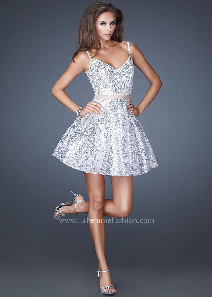 La Femme 18941 - Short and Sexy White Sequin Dress, Prom Dresses ...