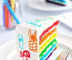Don't stop till you're free | Rainbow Doodle Birthday Cake from Sweetapolita.... | via Tumblr