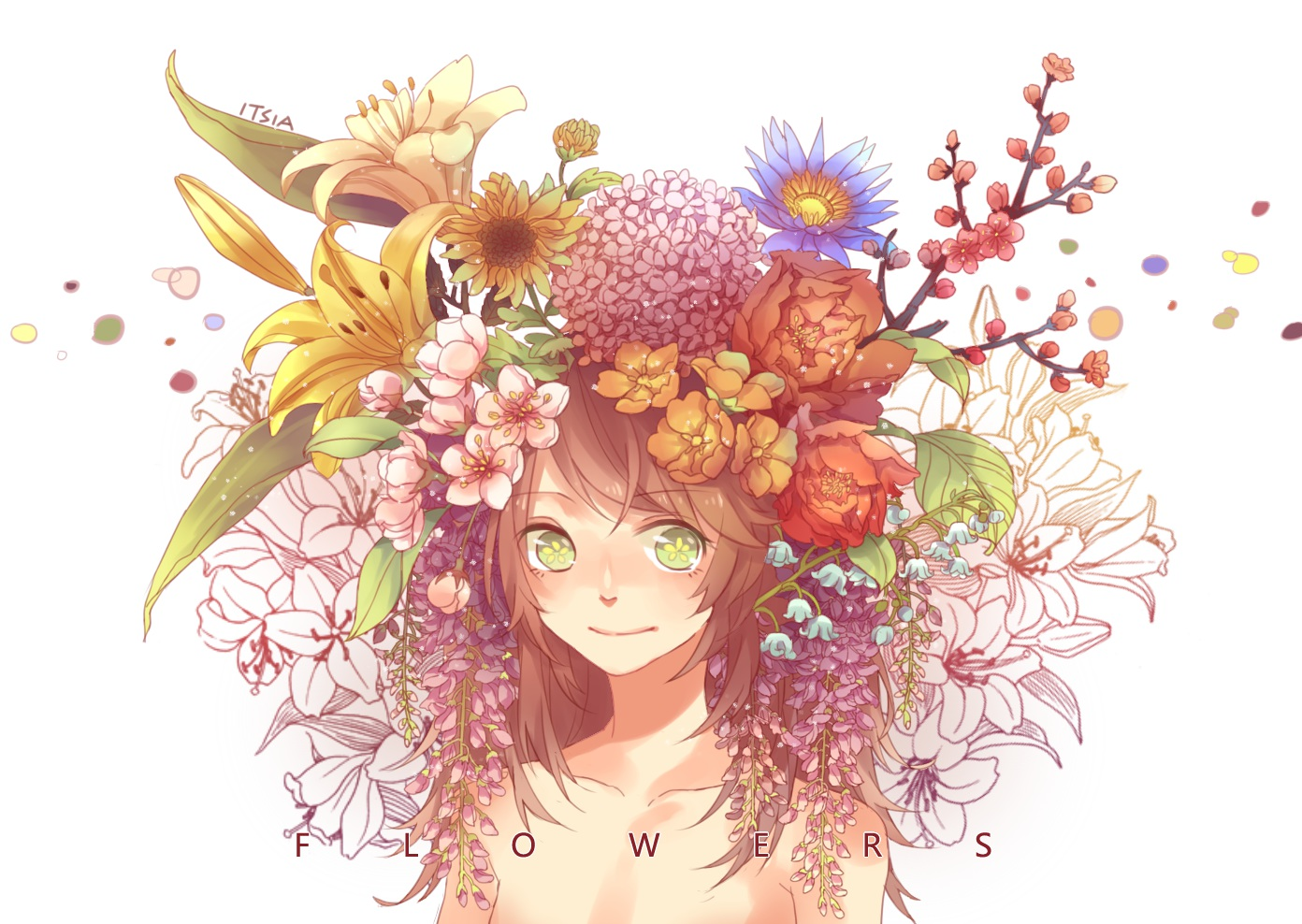 Anime Flowers Png Group of Anime Girl♥ Flowers