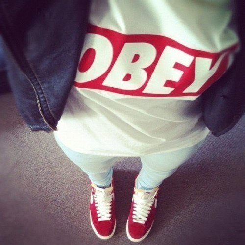 obey .girl .fashion . red | We Heart It | obey, swag, and red