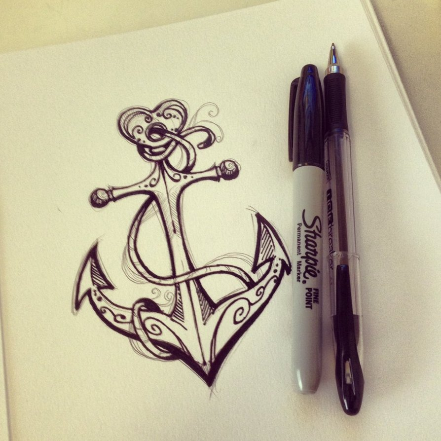 Anchor Heart Drawing Manos ✋