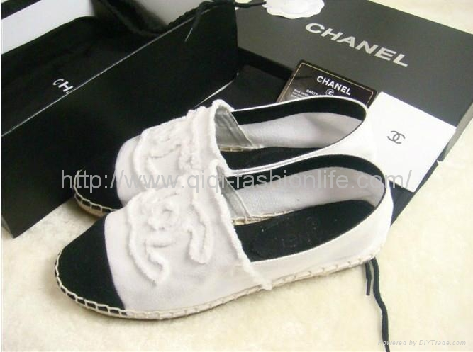 NIB Auth CHANEL Classic Iconic CC Logo Canvas Espadrille Flat Loafer Shoe 7 38