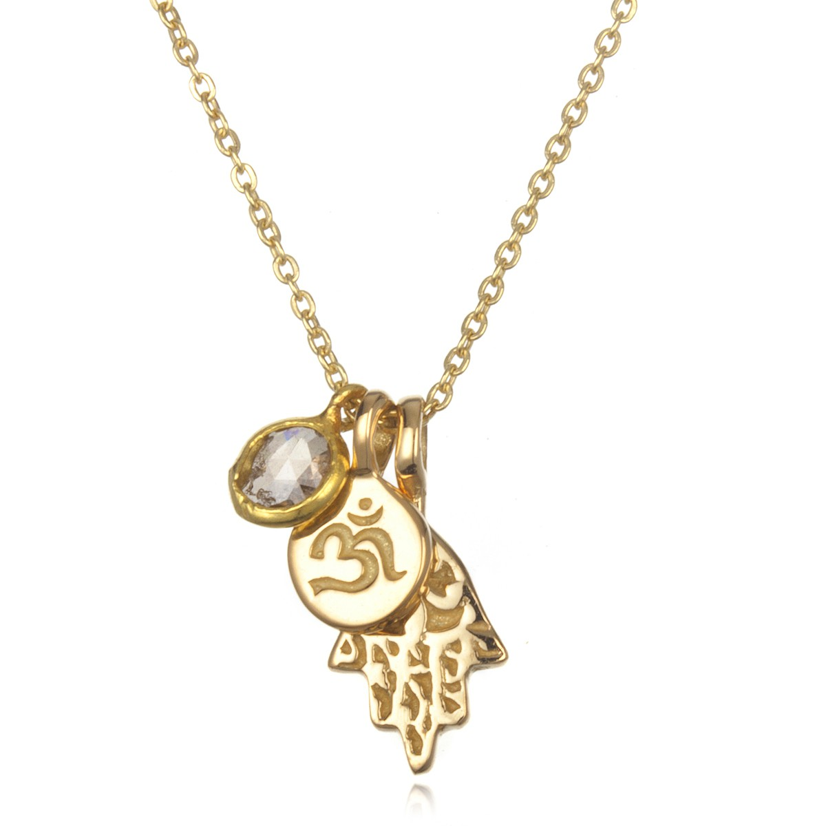 18kt gold hamsa and om necklace with pendant