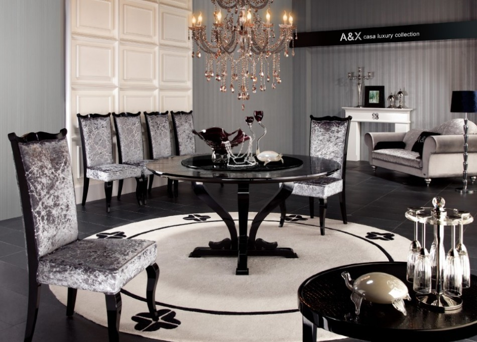 Modern High Gloss Dining Table set furniture in Black ...