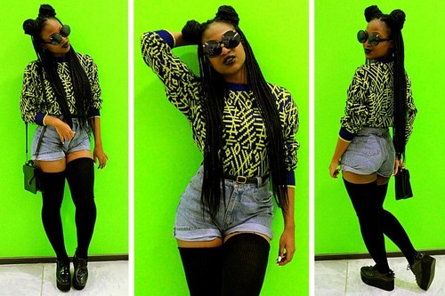 Minnie Mouse Box Braids We Heart It Black Shorts And