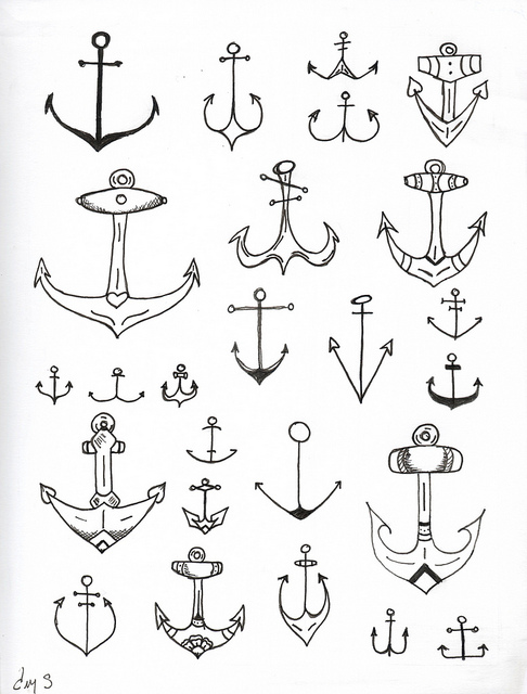 Small Anchor Drawing Group of Cute Anchor Drawing