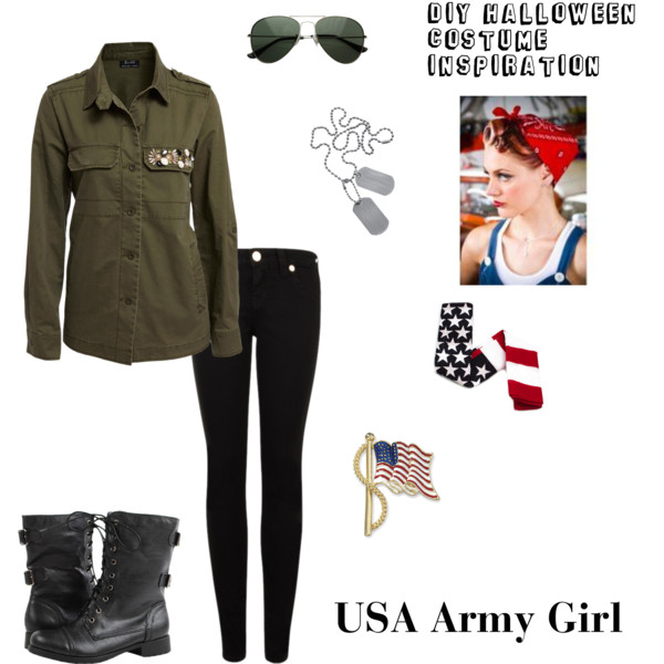 military soldier costume diy halloween costume inspiration usa army girl polyvore - Soldier Girl Halloween Costume