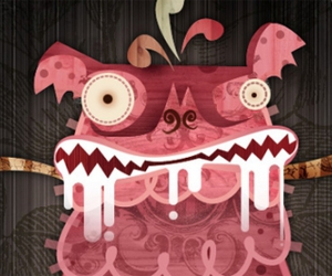 chupacabra design illustration cute pink drooling