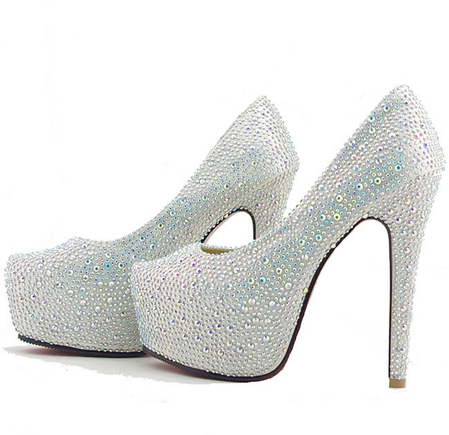 Silver Wedding Bridal Shoes Glitter Diamonds Platform Prom Party ...